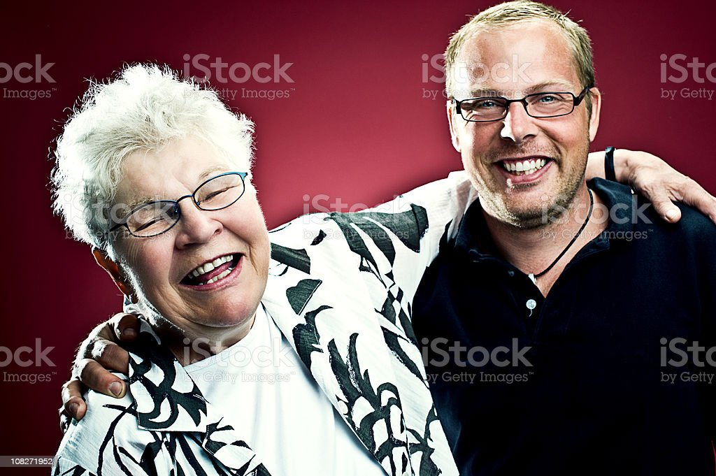 Funny grandma with young man royalty-free stock photo