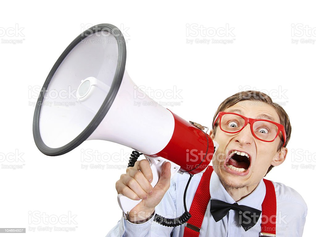 Funny guy with bullhorn stock photo