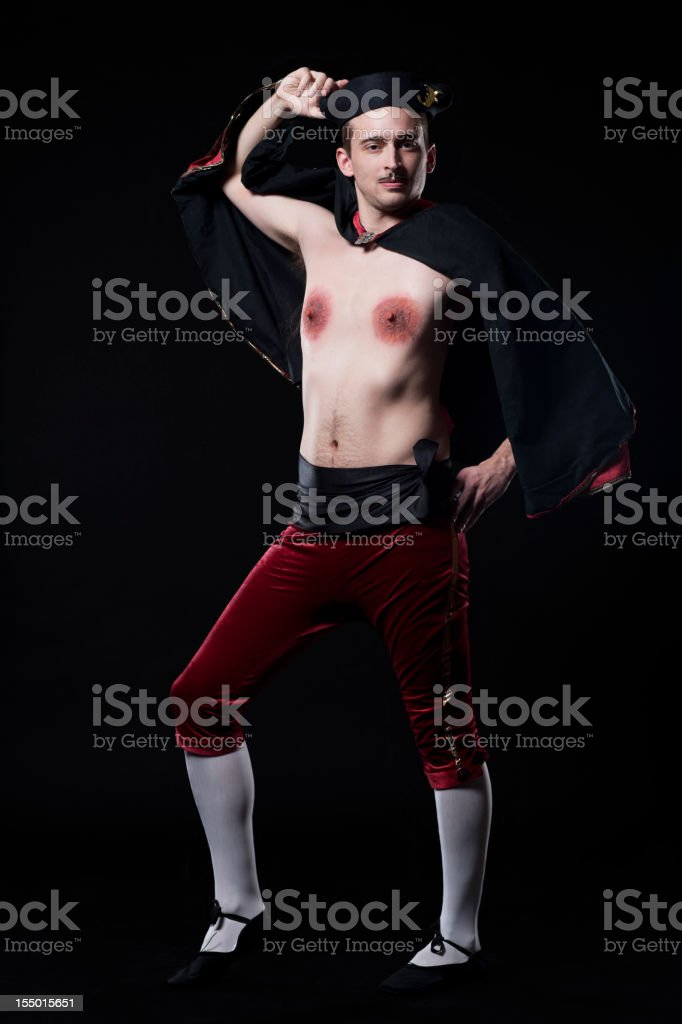 Funny Halloween Costume, Frenchman with Red Nipples on Black stock photo