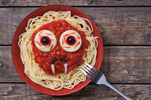 Funny halloween vampire face food for celebration party. Scary monster stock photo