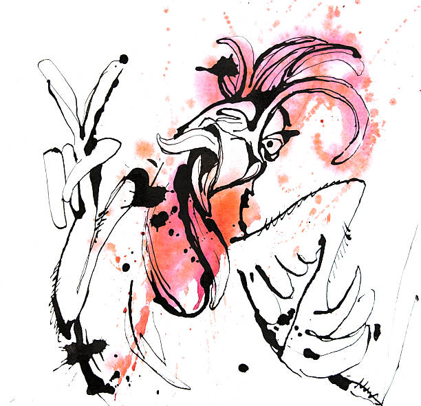 Funny hand drawn cock showing victory sign and winking Watercolor illustration Funny hand drawn cock showing victory sign and winking.Cock, rooster sketch,cock drawing,cock design,cartoon cock,cock sketch,cock art,cock line,cock graphic,cock illustration sopaatervinning stock pictures, royalty-free photos & images