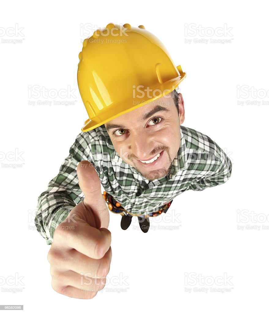 funny handyman thumb up royalty-free stock photo