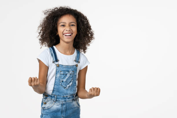 funny happiness and victory girl shouting with hands isolated on white background. - pics for cool girl stock pictures, royalty-free photos & images