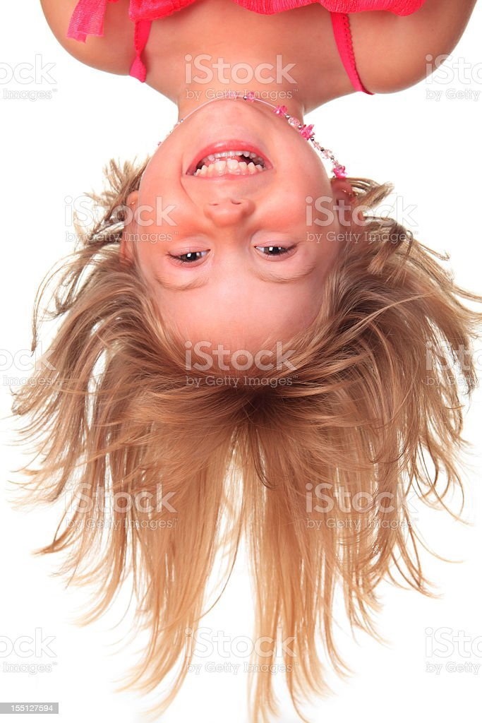Funny Head Down Child royalty-free stock photo