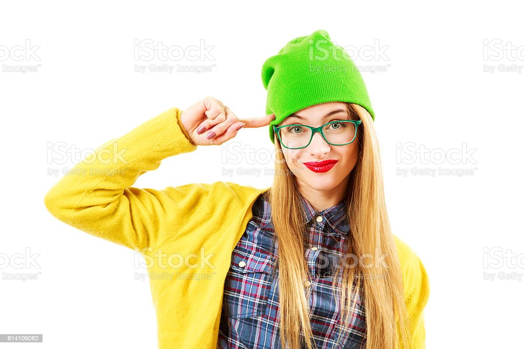 Funny Hipster Girl Going Crazy Isolated on White - Photo