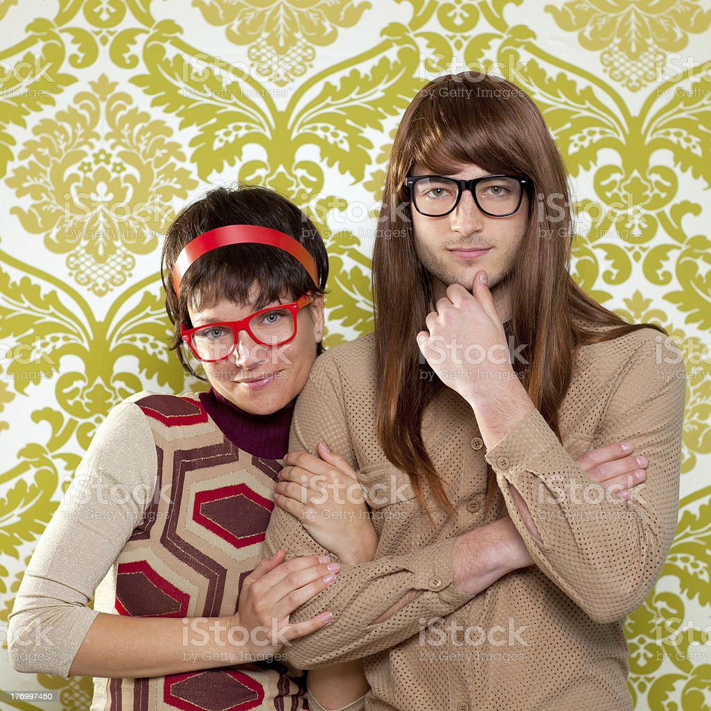 Funny humor nerd couple on vintage wallpaper royalty-free stock photo