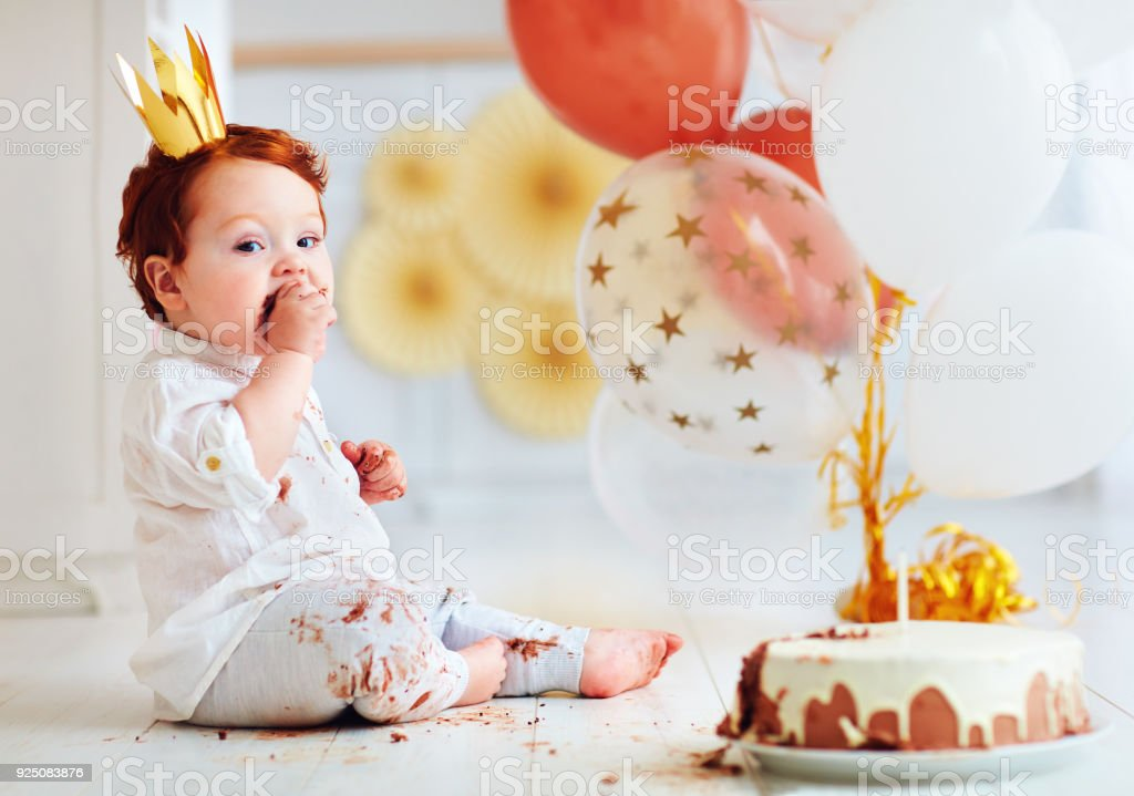 Pleasant Funny Infant Baby Boy Tasting His 1St Birthday Cake Stock Photo Personalised Birthday Cards Beptaeletsinfo
