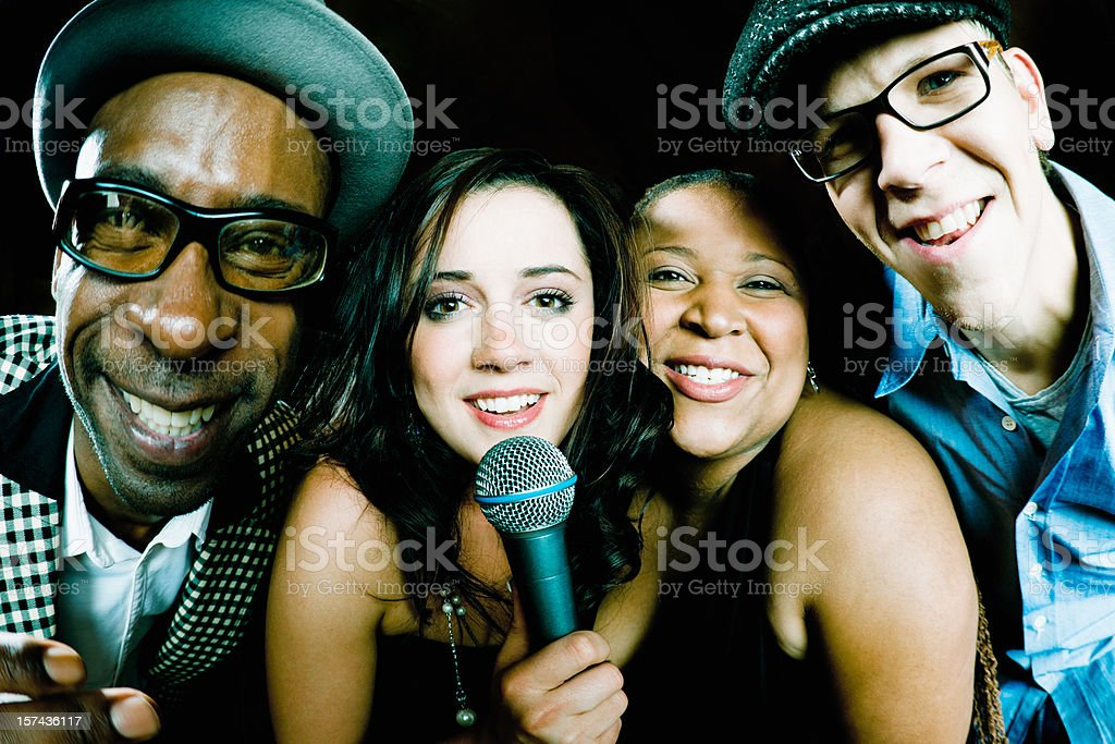Funny Karaoke Friends Singing Together royalty-free stock photo