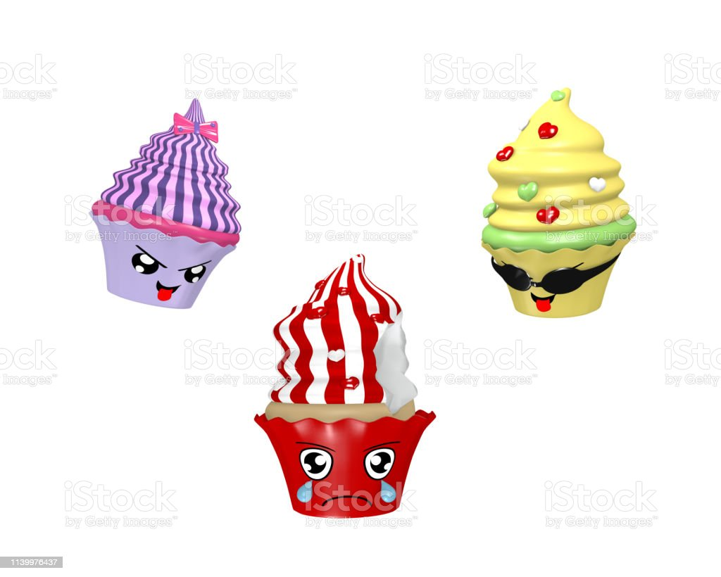Lustige kawaii-Charakter als Cupcakes. – Foto