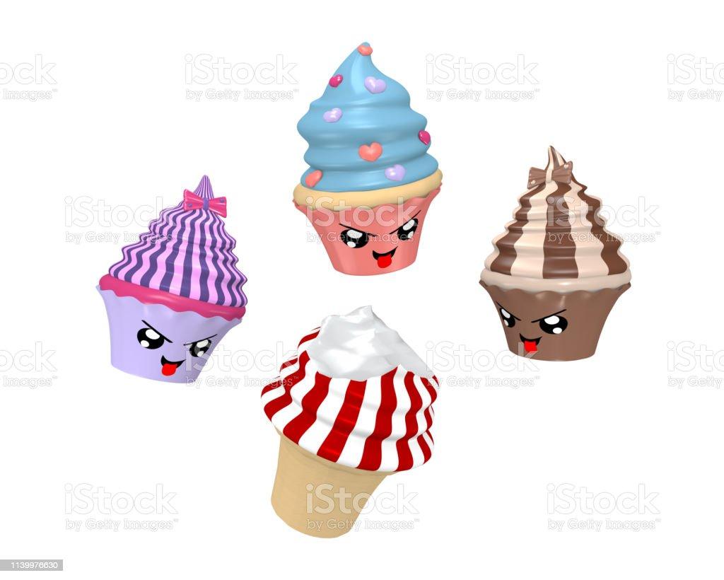 Lustiger kawaii-Charakter als Cupcakes beim Essen von Eis. – Foto