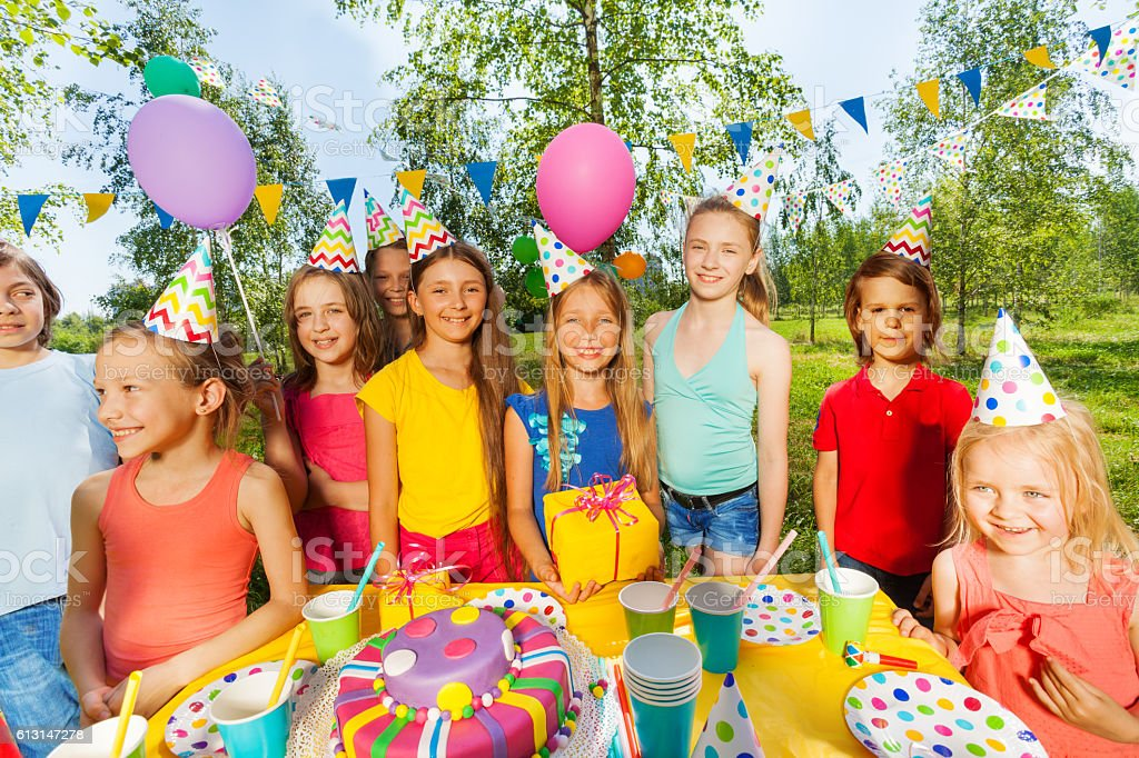 Funny Kids At The Outdoor Birthday Party Stock Photo More Pictures