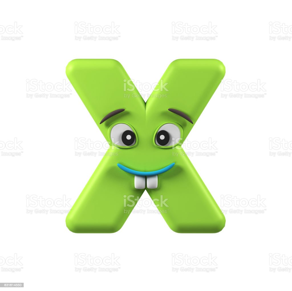 Funny Kids Font Letter X Stock Photo
