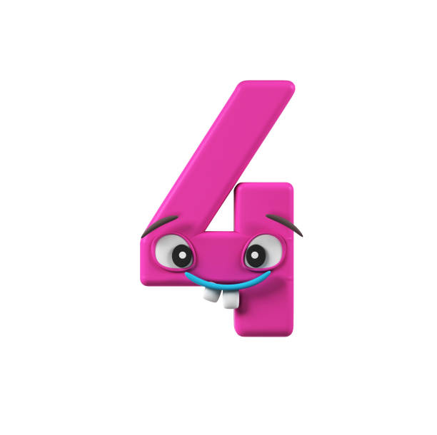 Funny Kids Font. Number 4 stock photo