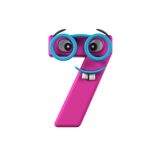 Funny Kids Font. Number 7 stock photo