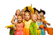 istock Funny kids in Halloween costumes 513450393