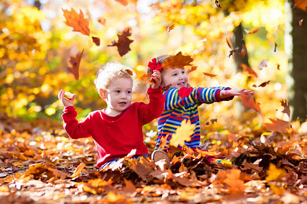 Funny kids playing in autumn park stock photo