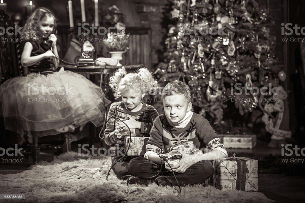 Funny Kids Pranks At Christmas stock photo