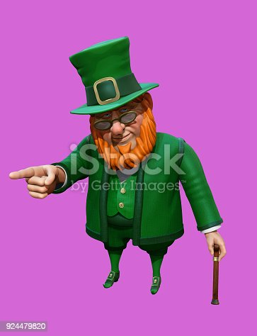 istock Funny leprechaun in green suit and hat pointing with his finger. 3D rendering 924479820