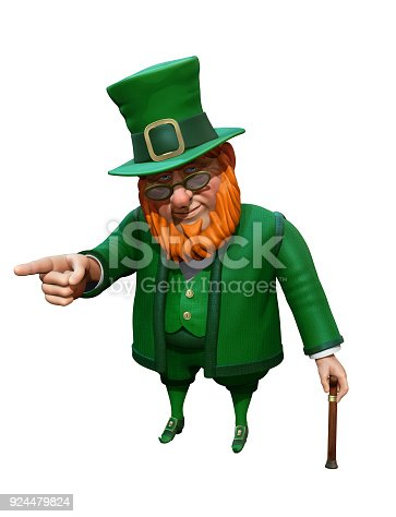 istock Funny leprechaun in green suit and hat pointing with his finger. 3D rendering 924479824