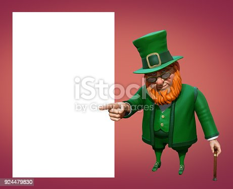 istock Funny leprechaun in green suit and hat pointing with his finger. 3D rendering 924479830