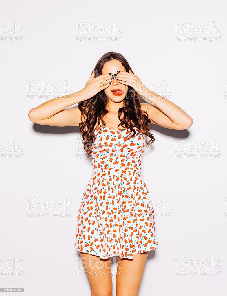 Funny lifestyle portrait beautiful brunette crazy girl stock photo