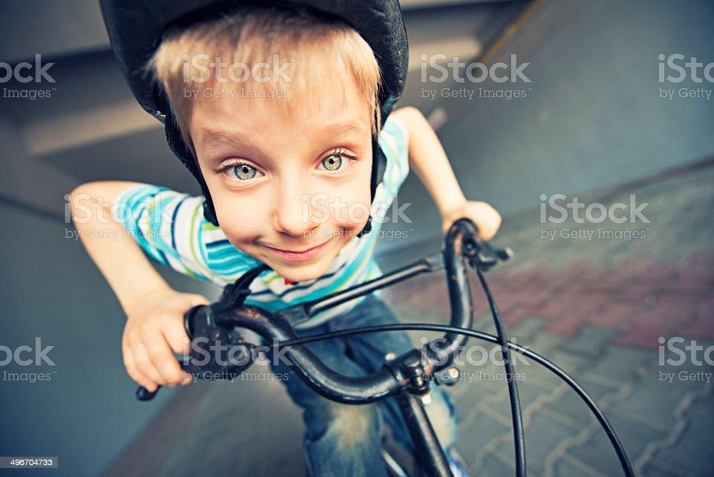 Funny little biker stock photo