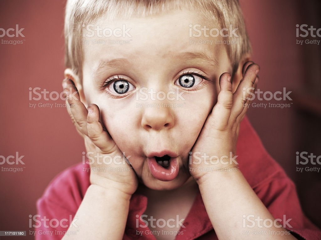 Funny little boy stock photo