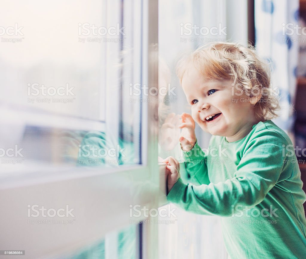 Funny little boy portrait stock photo