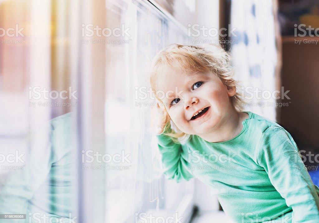 Funny little boy portrait stock photo