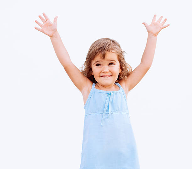 Funny little girl stock photo
