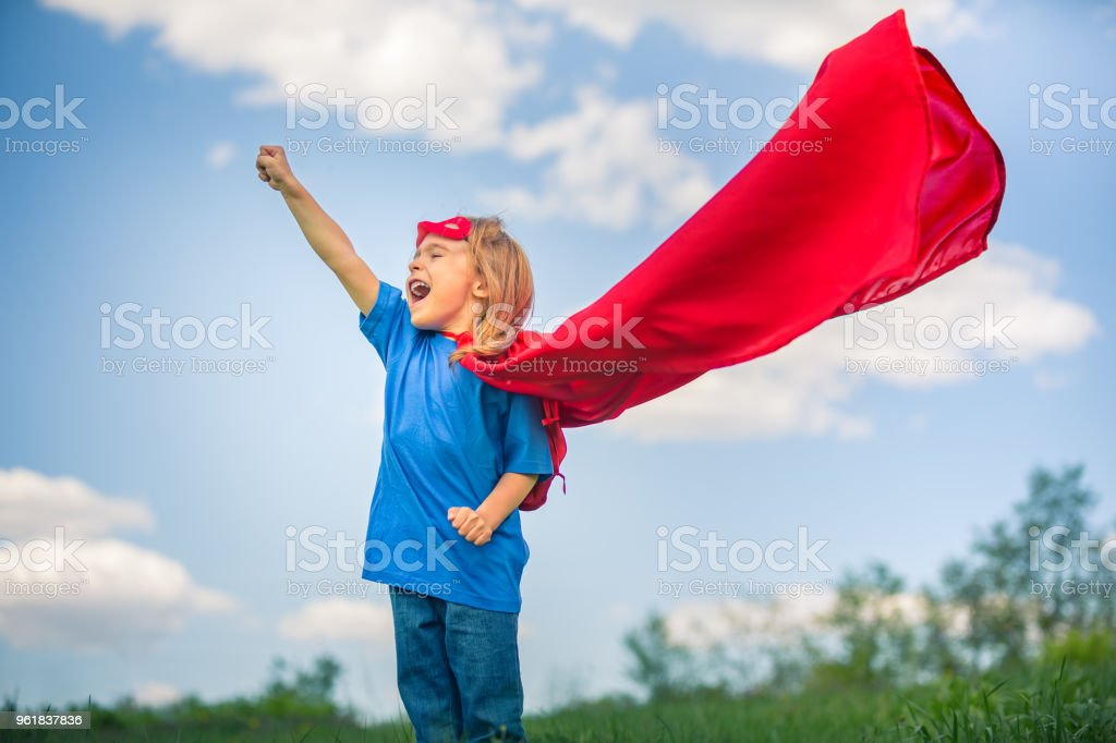 Funny Little Girl Playing Power Super Hero Stock Photo More
