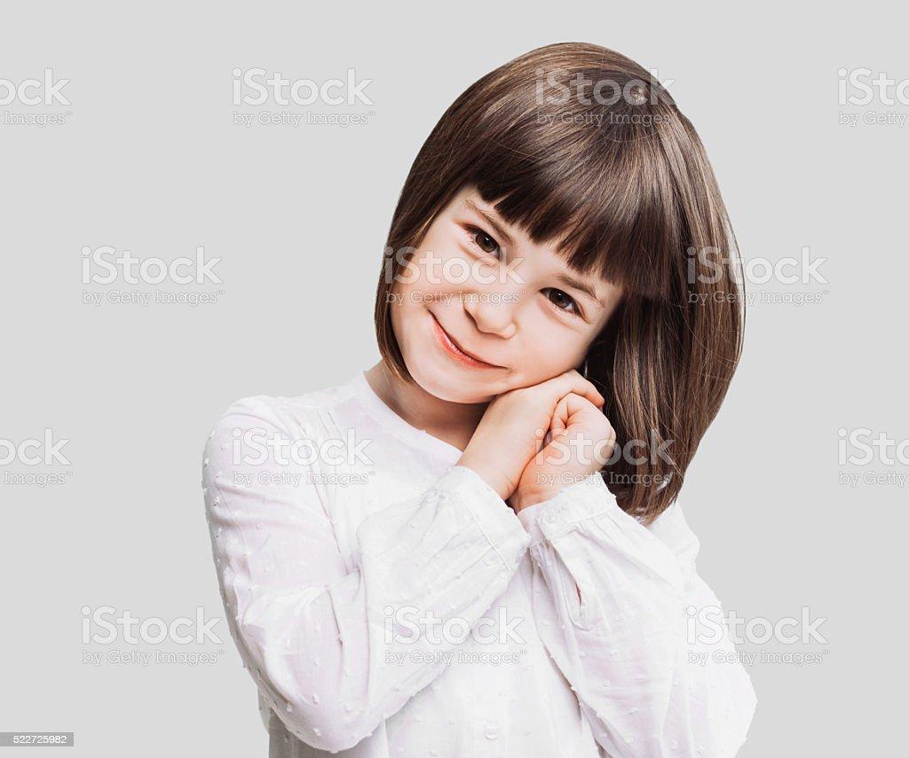 Funny little girl portrait stock photo