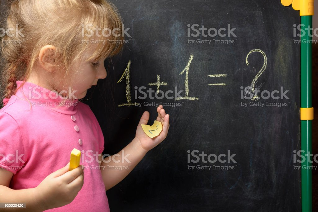 Funny Little Girl Trying Solve A Simple Math Problem At The ...