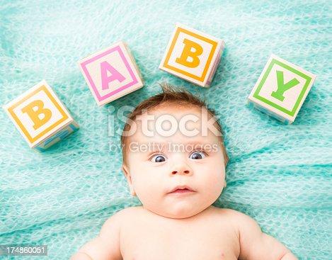 istock Funny looking Baby Lying On blanket 174860051