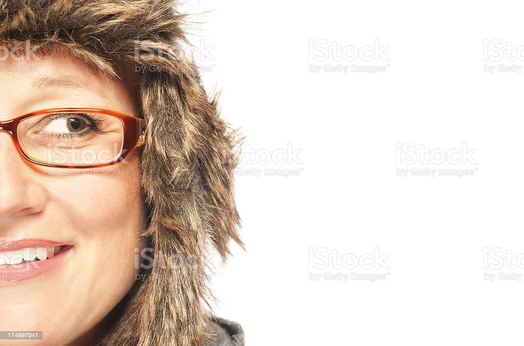Funny looking woman with winter hat royalty-free stock photo