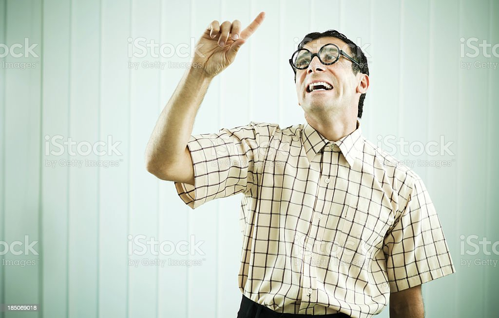 Funny man pointing upward with his finger. royalty-free stock photo