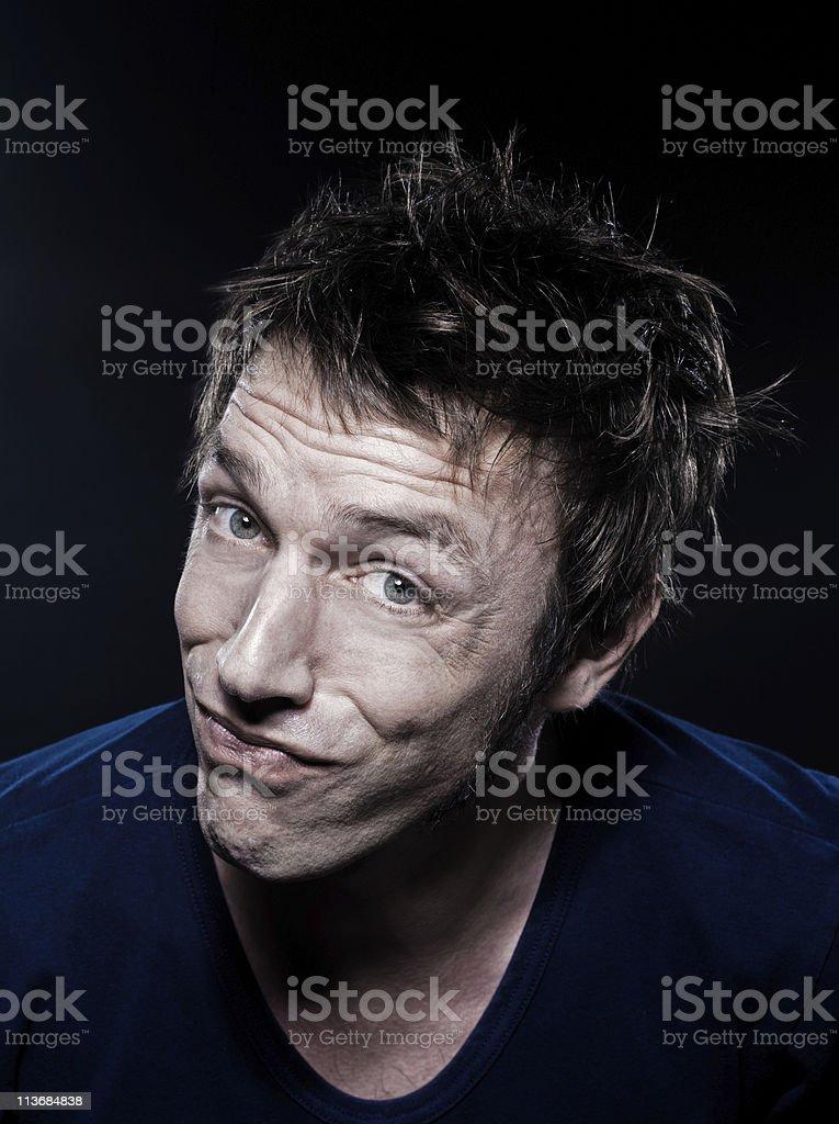 Funny Man Portrait puckering royalty-free stock photo