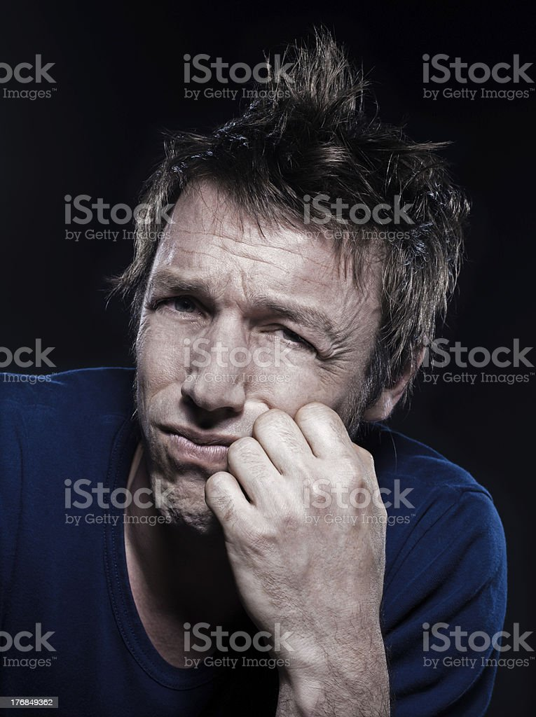 Funny Man Portrait puckering sad royalty-free stock photo