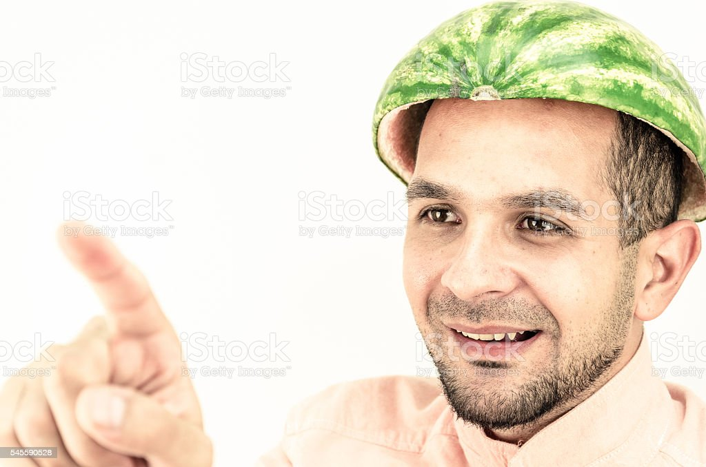 Funny man with a watermelon on his head. – Foto