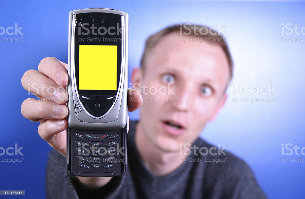 Funny Man with Cell Phone 2 royalty-free stock photo