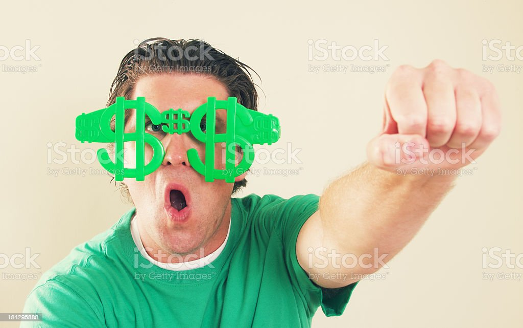Funny Man with Dollar Glasses royalty-free stock photo