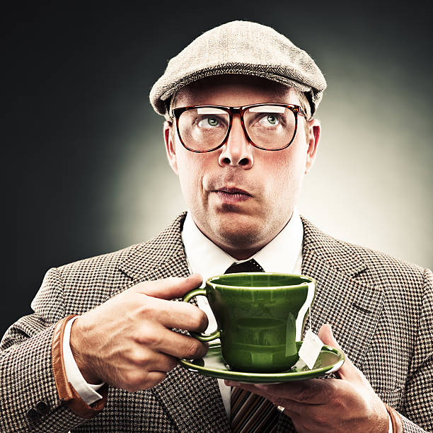 Funny man with tea stock photo