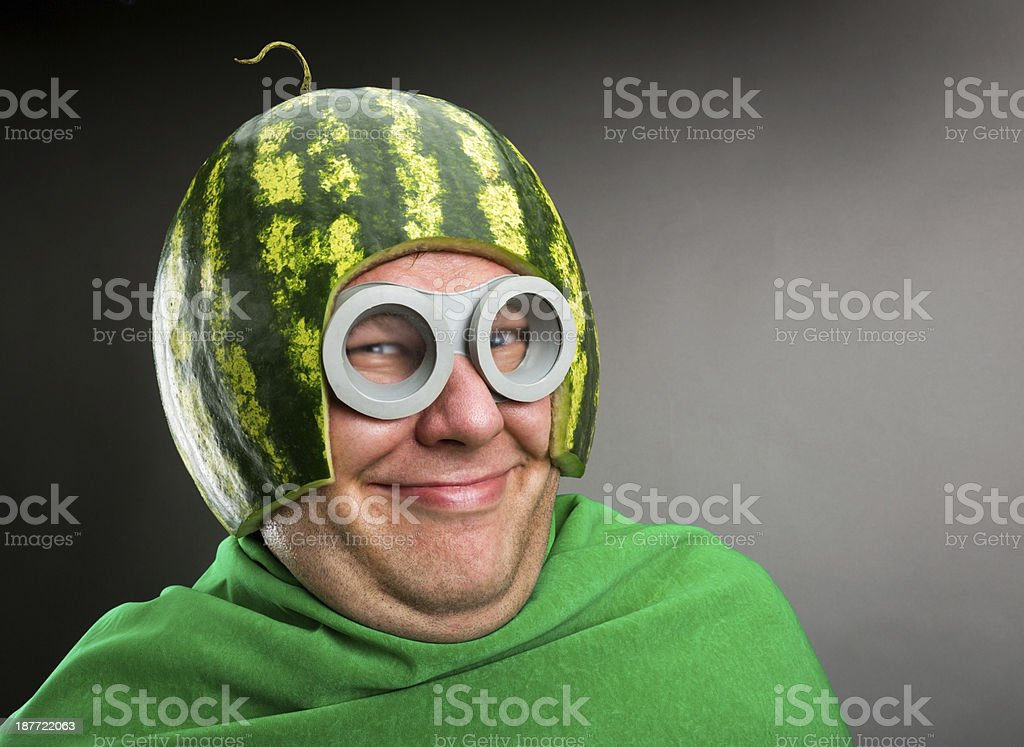 Funny man with watermelon helmet and goggles stock photo