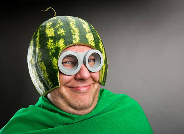 engraçado homem com capacete e melancia googles - homem chapéu imagens e fotografias de stock