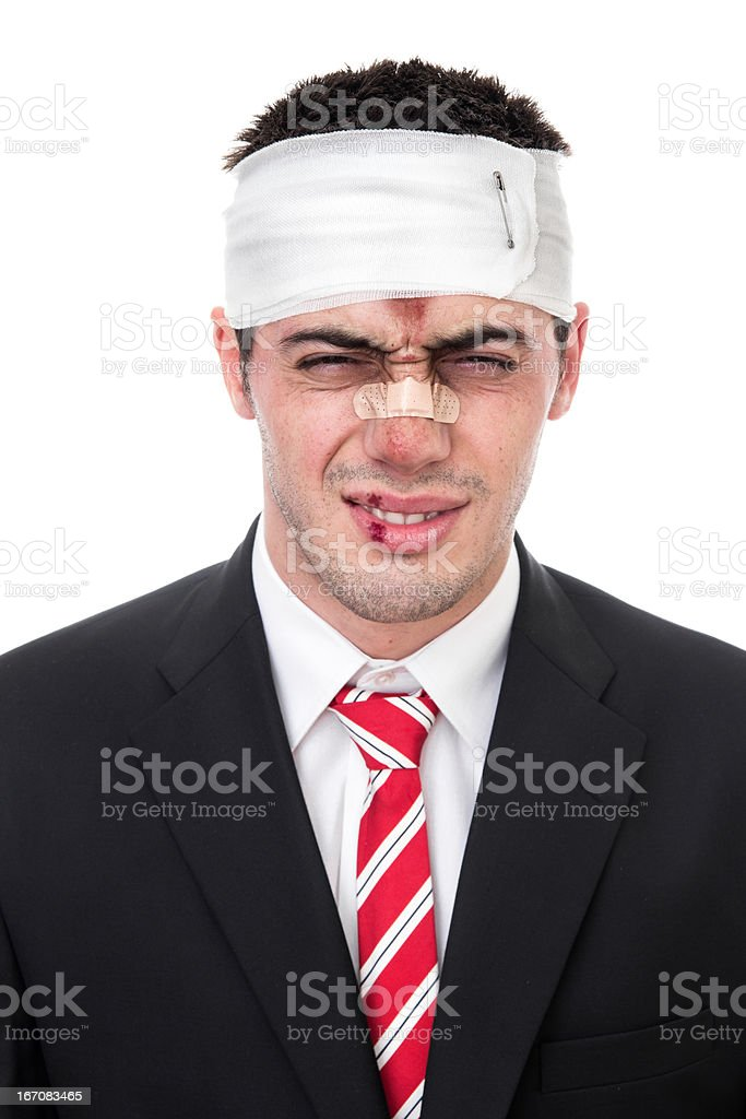 Funny man with wounds on head stock photo