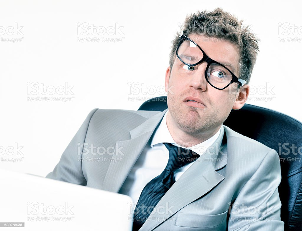 funny manager stressed at work stock photo
