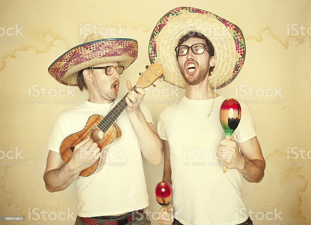 Funny Mariachi Band with Sombreros stock photo