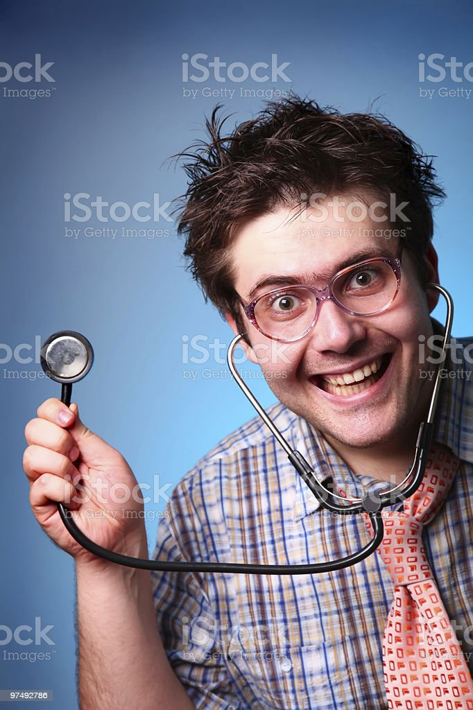 Funny M.D. with statoscope royalty-free stock photo