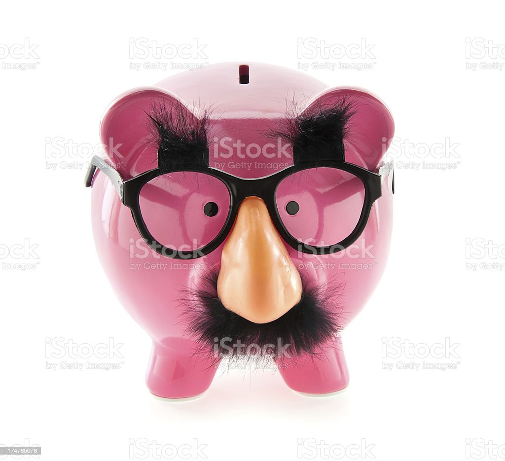 Funny Money Piggy Bank stock photo