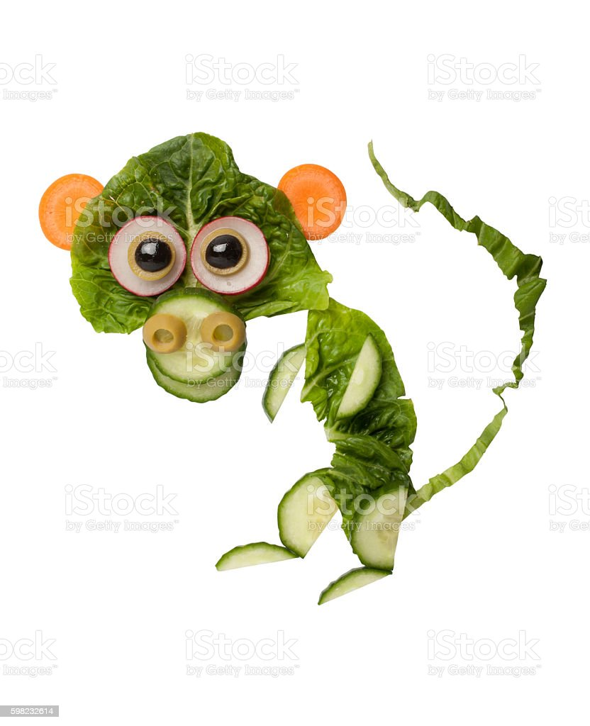 Funny monkey made of salad foto royalty-free